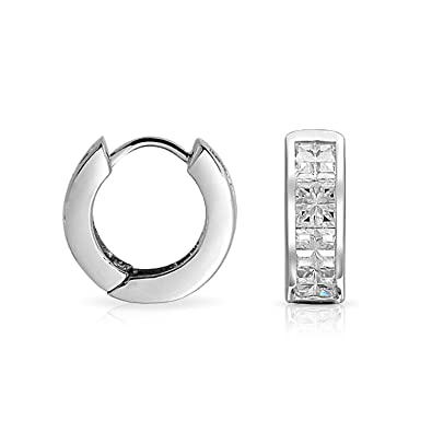 199cdca29d271 Invisible Cut Colorless Cubic Zirconia Huggie Hoop CZ 925 Sterling Silver  Earrings For Men Women