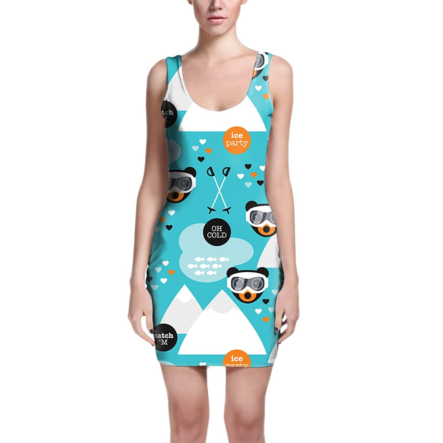 Ski Fun Bears Bodycon Dress Kleider XS - 3XL