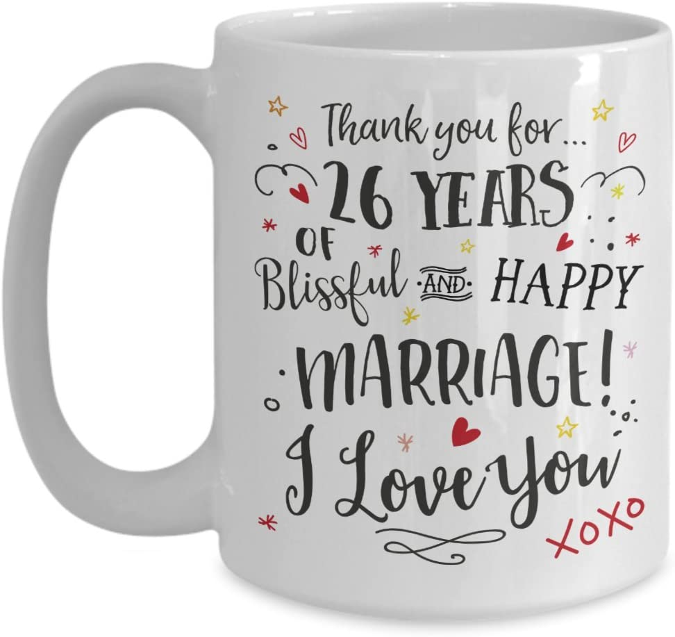 Amazon Com 26th Wedding Anniversary Gift Mug Blissful Happy