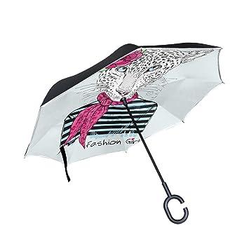 Paraguas invertido de doble capa para el sol o la lluvia, paraguas de viaje resistente