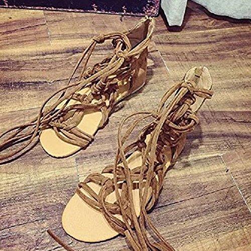 glissière Sandales en à dentelle dames à kaki pour taille haute Juleya lacets Chaussures Uxpq66R