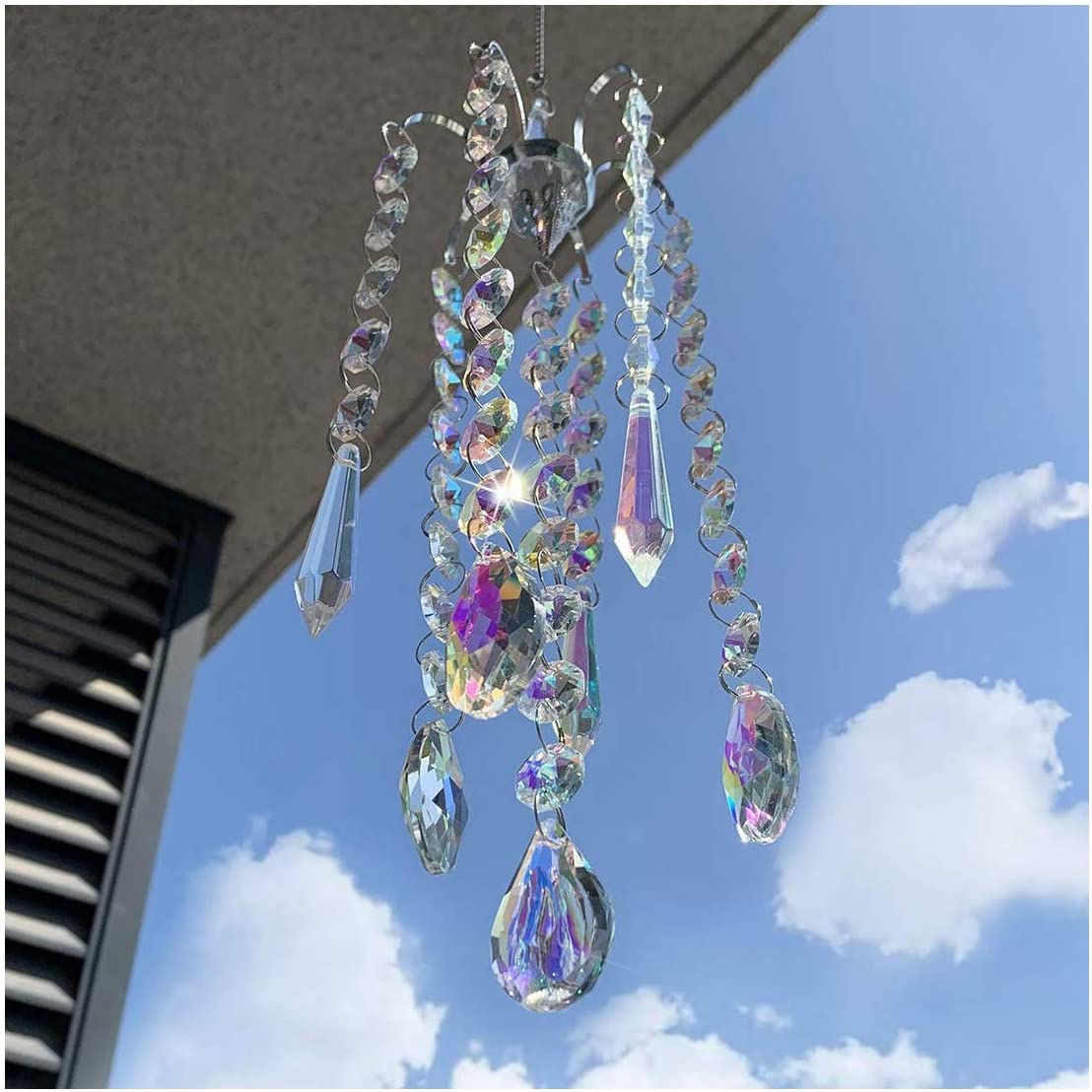 H&D HYALINE & DORA Chandelier Wind Chimes AB Coating Crystal Prisms Hanging Suncatcher Pendant Home Decor Gifts