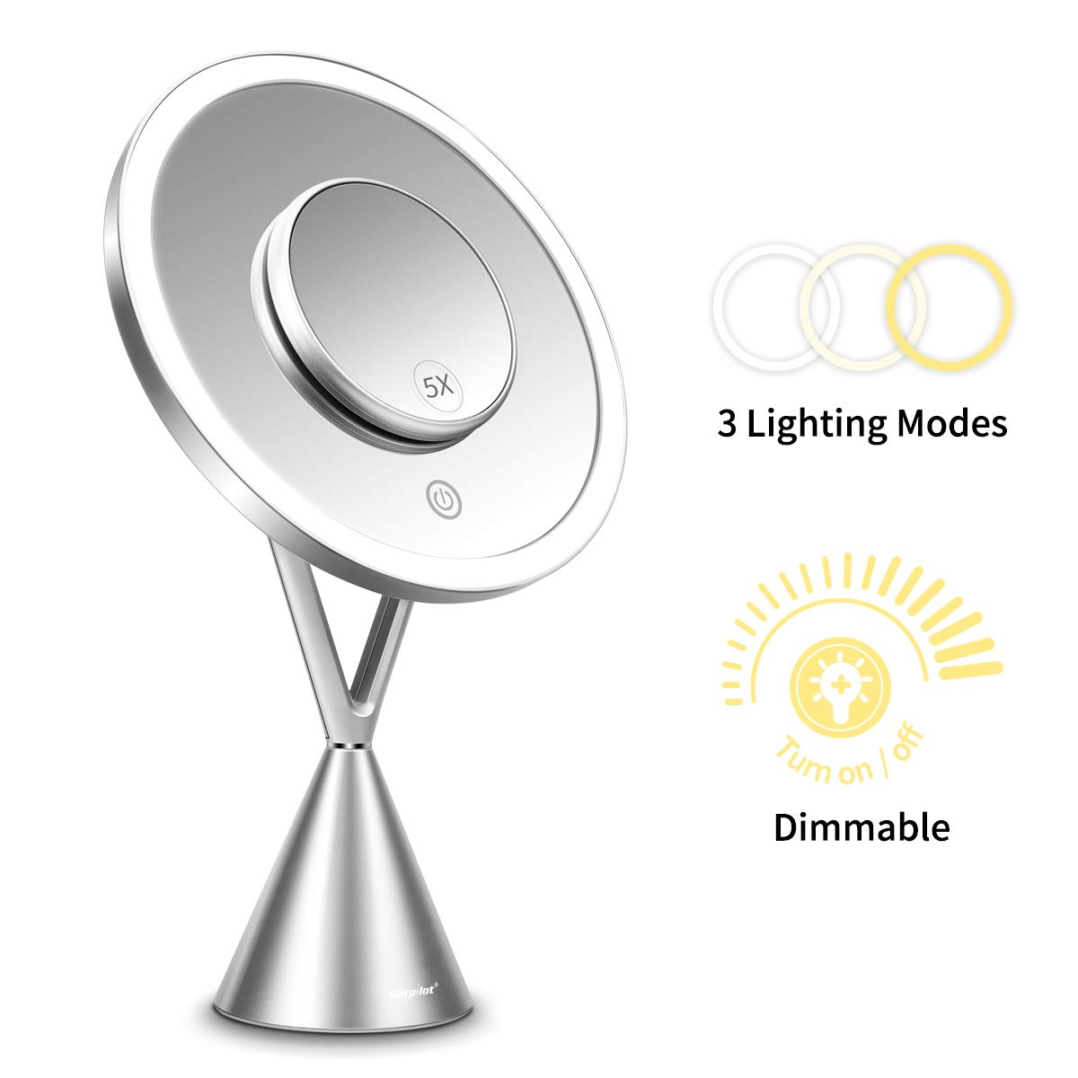 Lighted Makeup Mirror with 5X Magnification,Vanity Mirror with Lights, 3 Color Lighting Modes 8.3inch Rechargeable Mirror with Dimmable Touch Screen