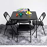 ASUUNY 5pc. L Series Folding Card Table and Chair Set Dining Set for 4 Persons 5pc Dining Dinette Black