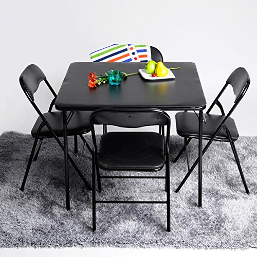 ASUUNY 5pc. L Series Folding Card Table and Chair Set Dining Set for 4 Persons 5pc Dining Dinette Black by ASUUNY