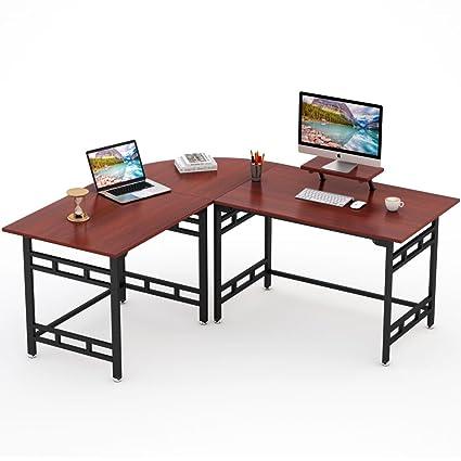 Tribesigns Large Modern L Shaped Desk Corner Computer Office Desk PC Laptop  Study Table Workstation