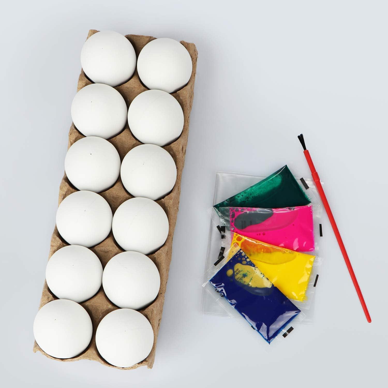 com-four/® Set di Tazze pasquali in 16 Pezzi 16 Pezzi - Set di Pittura - Coppa di Pasqua Colori e pennelli per i Bambini Che Si dipingono Tazze con Motivo Pasquale