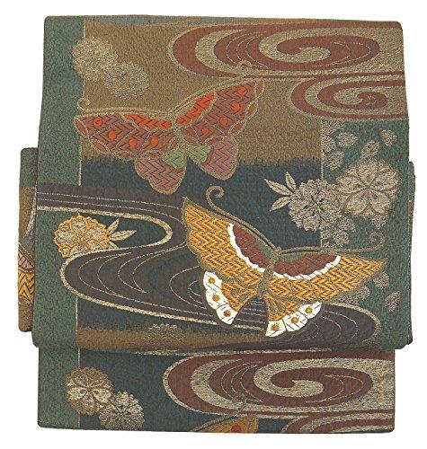 休眠信号香り(桜楓) 和裁士が作った本格 二部式 正絹 作り帯 袋帯 つくり帯 軽装帯 ワンタッチ帯 LL 2L 3L 4L 5L 未使用の帯 0087 tied obi divided into two