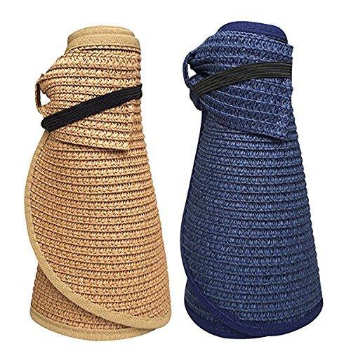 Beautyer Women's Wide Brim Roll Up Floppy Beach Straw Sun Hat Visor Cap (Navy & -