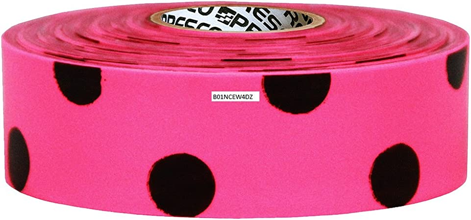 "Black Polka Dot Flagging Tape 1 3//16/"" x 300 ft Non-Adhesive White 12 Rolls"