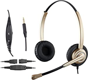 3.5mm Stereo Headset with Microphone Noise Cancelling, Volume Control and Mic Mute, Lightweight PC Headset for Computer, Tablets and Cell Phones in The Office, Classroom or Home