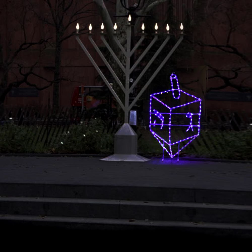 Hanukkah Outdoor / Indoor 3.5 ft. Blue Dreidel Traditional Decoration with LED lights and stand