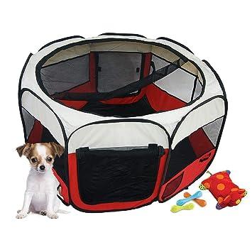 Todeco - Parque de Juegos para Mascotas, Parque para Animales Pequeños - Material: Poliéster Recubierto de PVC - Diámetro: 125 cm - Rojo