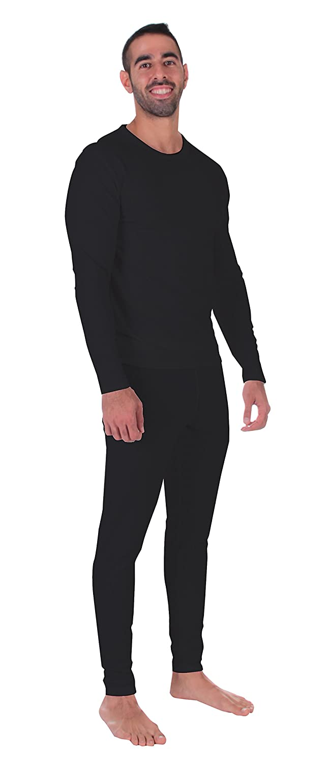 Men Thermal Performance Underwear Set; Base Layer; Midweight Soft Fleece; Warm Long Sleeve Shirt and Long Johns Bottoms