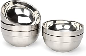 RushGo Stainless Steel Bowl Set Double-walled Insulated, 13oz Set of 5