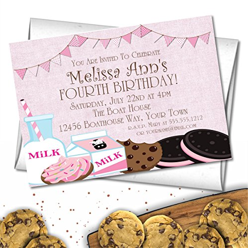 Milk & Cookies Birthday Party Invitations by Party Beautifully