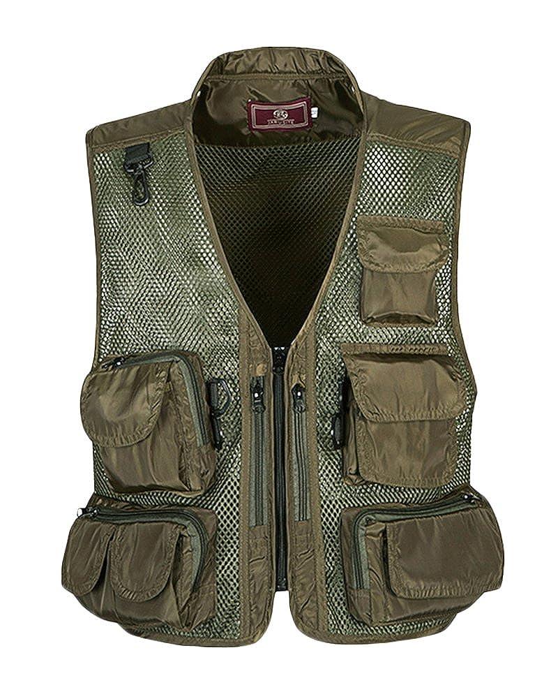 Homme Outdoor Gilet De Travail Multi-Poches Zipper sans Manches Waistcoat Pêche Escalade Photography Légère Casual Vests
