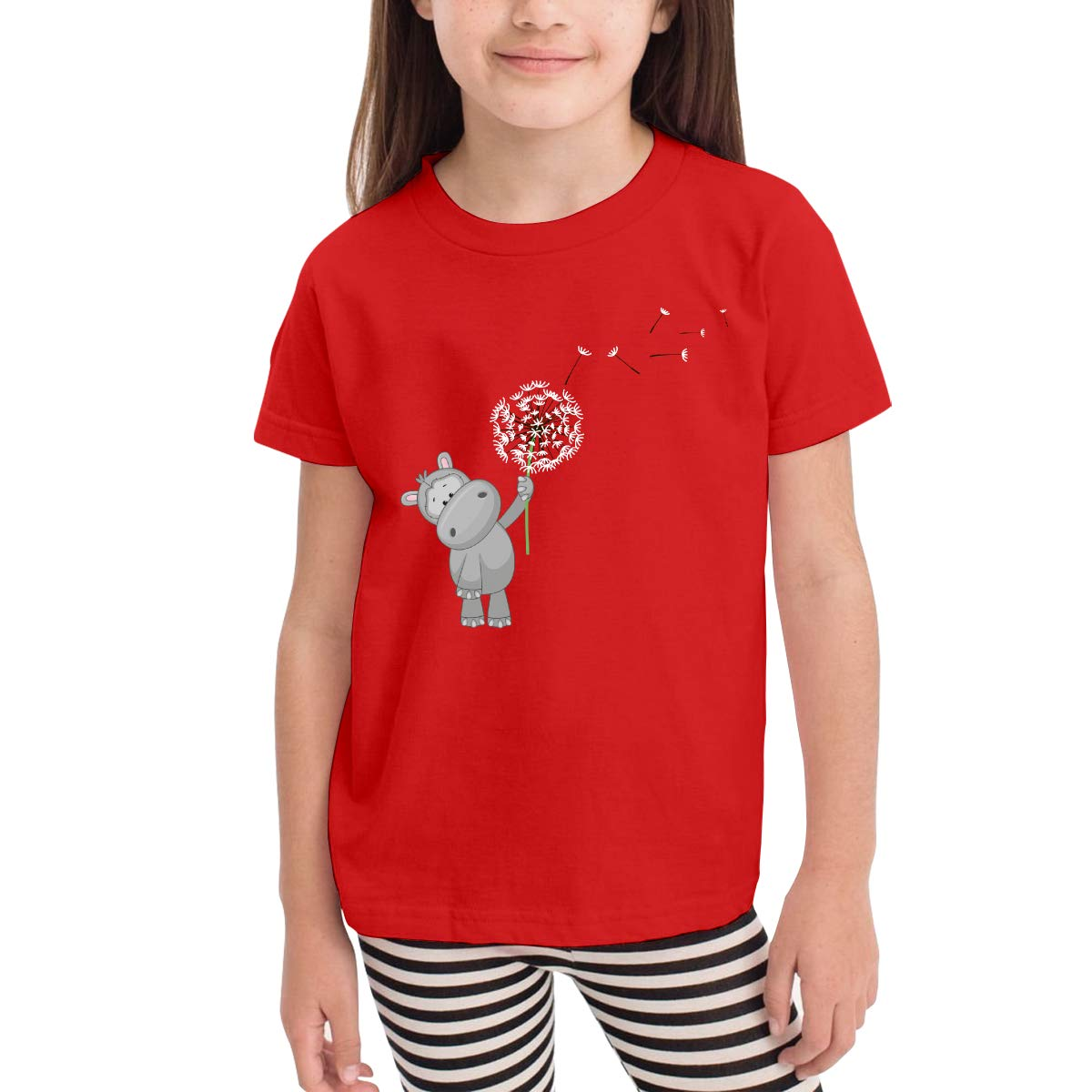 Kids T-Shirt Tops Black Hippo and Dandelion Unisex Youths Short Sleeve T-Shirt