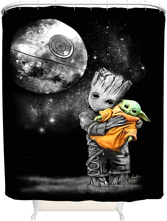 YxueSond Baby Groot abrazando Yoda cortina de ducha impermeable de tela estampada