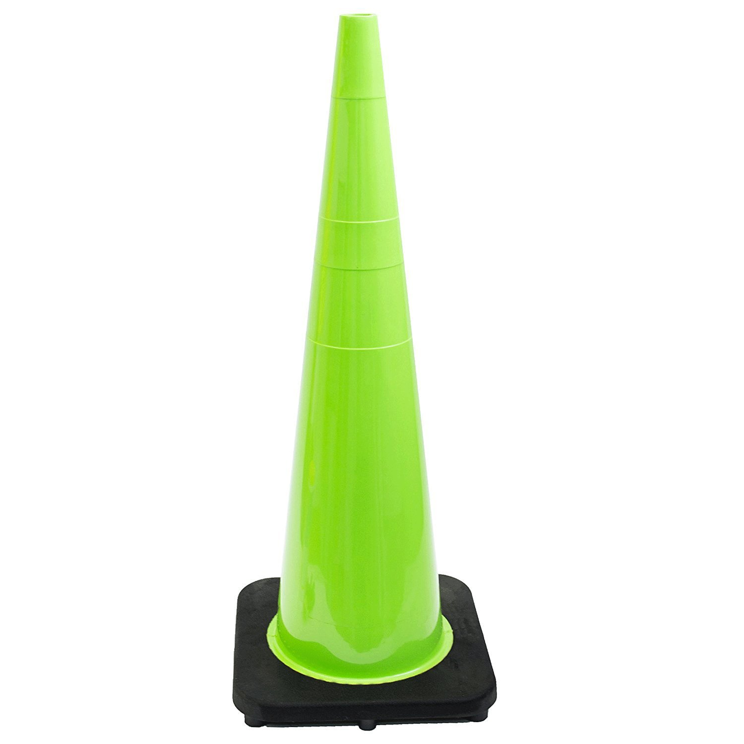 (Set of 6) 36'' RK Lime Safety Traffic PVC Cones with Black Base