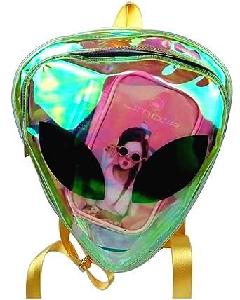 Laser Transparent Backpack Boys 3d Alien Et Head Face Designed Unisex Backpack Fashion Triangle Leisure Bag For Girls Luggage & Bags Backpacks