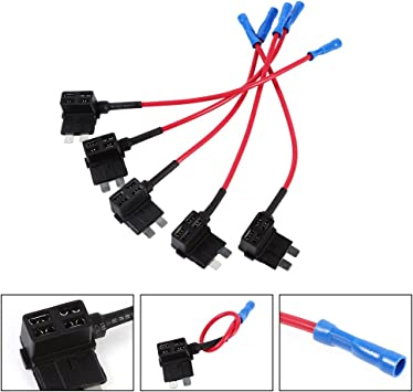 5PCS Small ACS Add A Circuit Piggy Back Pluggable MINI Blade Tap Fuse Holder