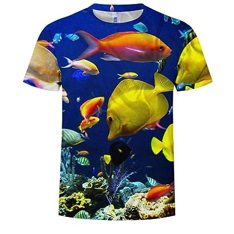 RCFRGV Camisa 3DT Camiseta Hombre Talla EU/Us - 3D / Animal Print Cuello Redondo Azul: Amazon.es: Deportes y aire libre