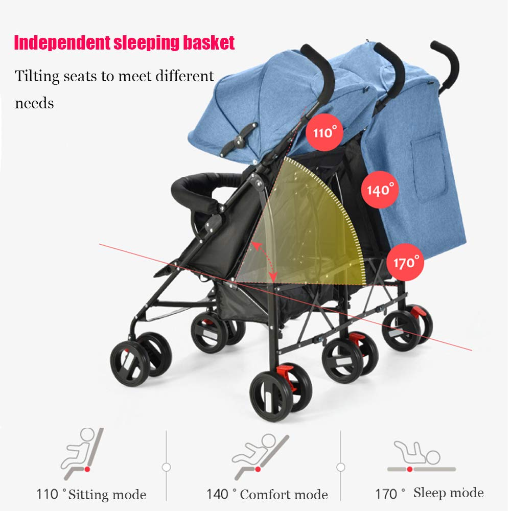 Twin Double Stroller, Foldable Tandem Stroller Side by Side Independently Reclining Seats Lightweight Extended Canopy Newborn Gift,Blue by Saturey (Image #3)