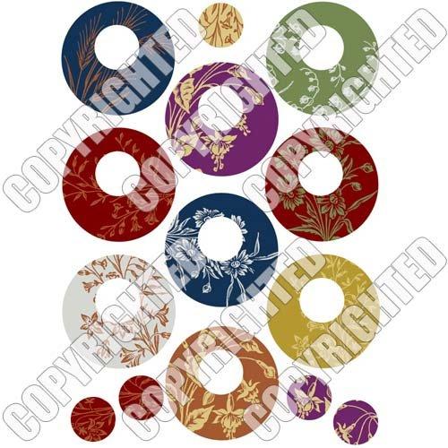 (Nunn Design Transfer Sheet Floral Circles for Scrapbook - Fits Patera)
