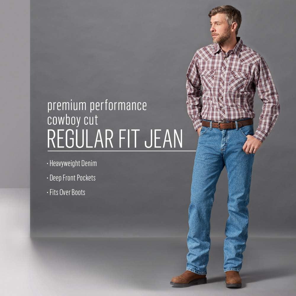 Wrangler Men's Premium Performance Cowboy Cut Regular Fit Jean Stonewash