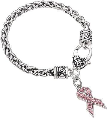 Lemegeton Cancer du Sein ruban rose Strass Charm bl/é Bracelet cha/îne