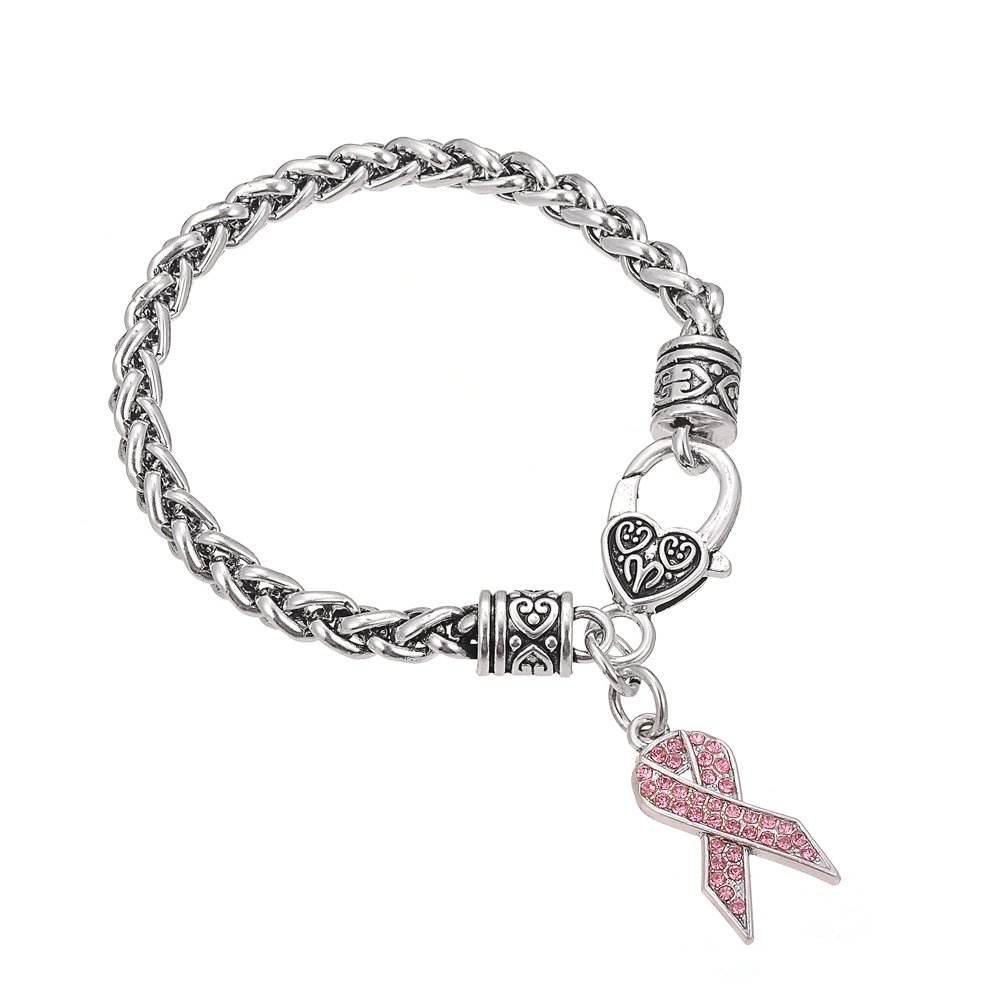 Pink Crystal Stone Breast Cancer Awareness Ribbon Charm Lobster Clasp Bracelet for Women Qiju B108327-2
