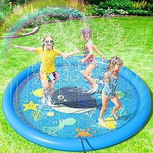 Peradix Tappetino Gioco d'Acqua per Bambini, (68 '' / 170 cm) Giocattoli Splash Play Mat Giochi all'Aperto Estate Giochi… 3 spesavip