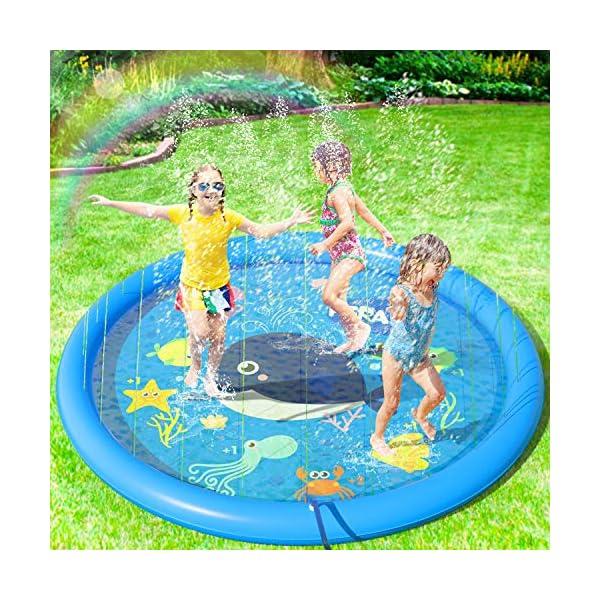 Peradix Tappetino Gioco d'Acqua per Bambini, (68 '' / 170 cm) Giocattoli Splash Play Mat Giochi all'Aperto Estate Giochi… 1 spesavip