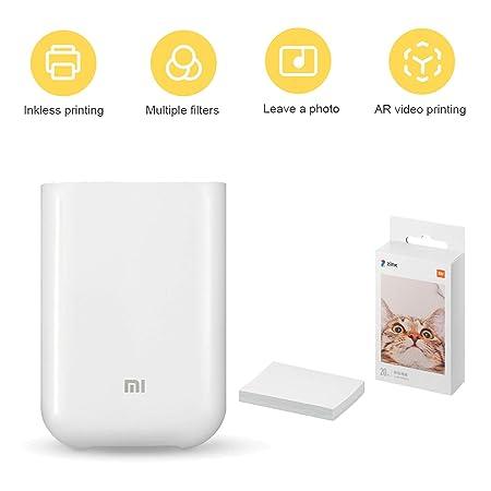 Zip - Impresora Móvil,para Xiaomi Mijia AR Impresora 300 dpi Portátil Foto Mini Bolsillo con DIY Compartir 500mAh Imagen,Bluetooth,USB,con 20 Hojas 5 ...