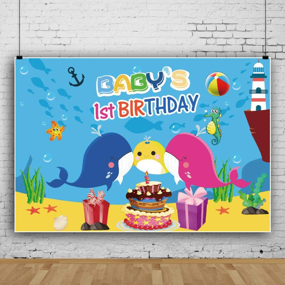 Yeele 10x6.5ft Happy Birthday Photography Background Cartoon Whale 1st Birthday Seabed Coral Cake Gift Box Seahorse Starfish Lighthouse Birthday Decoration Banner Portrait Photo Backdrop Studio Props