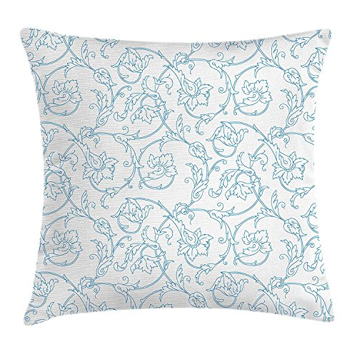 French Bench Painted Floral Hand (CoraBest Floral Throw Pillow Cushion Cover, Flower Orchids Bohemian Style Vintage Petals Vines Pattern French Country Style, Decorative Square Accent Pillow Case, 18 X 18 Inches, Blue White)