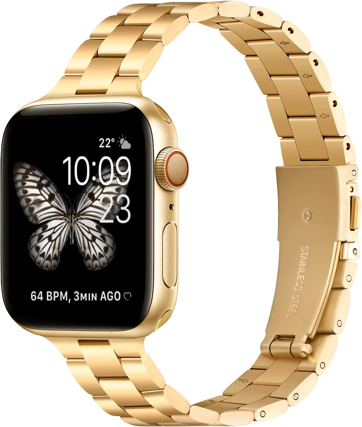 Thin Metal Band Compatible with Apple Watch 38mm 40mm Slim Stainless Steel Adjustable Wristband Strap for iWatch SE Series 6 5 4 3 2 1 for Women Men,Gold