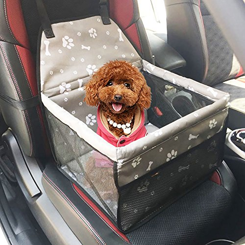 URIJK Deluxe Portable Pet Dog Booster Car Seat - Dog Carrier Safety Stable for Travel Look Out and Zipper Storage Pocket - Pet Booster Carrier with Cushion for Small Medium - Up And Car Lbs 30 Seats Booster