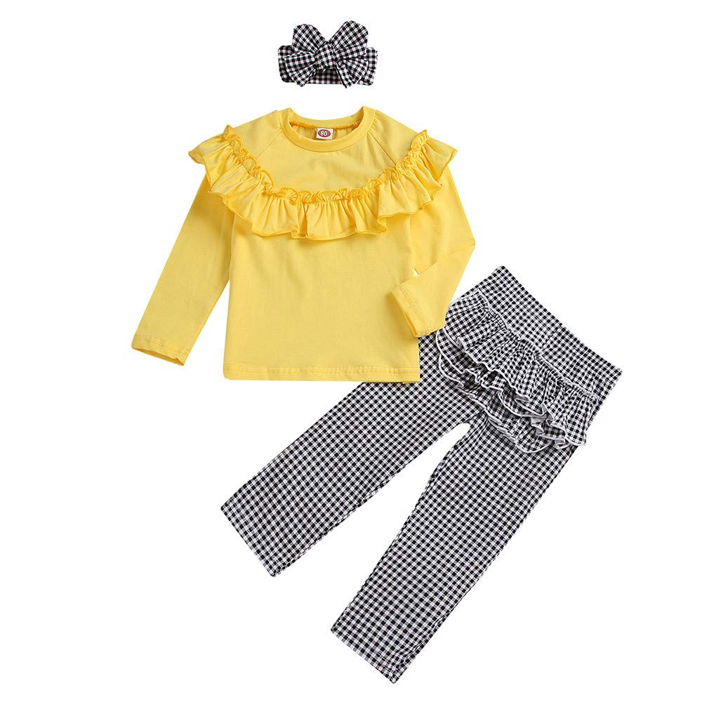 NUWFOR Toddler Baby Long Sleeve Solid Ruffle Tops+Plaid Pants+Headband Outfit Clothes (Yellow,18-24 Months by NUWFOR (Image #2)