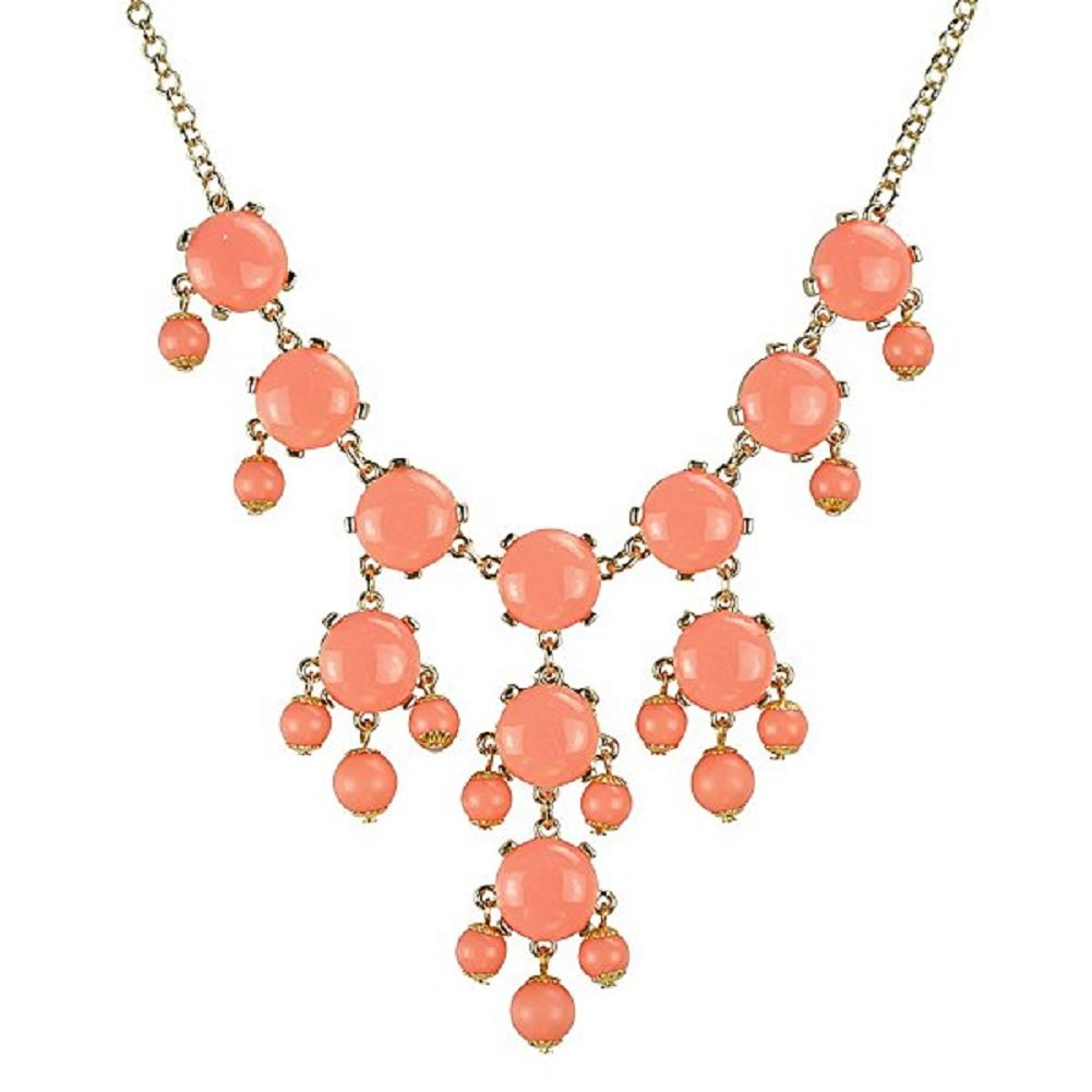 HoBST New Orange Bib Bubble Collar Statement Necklace Chunky Choker Pendant For Women