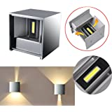 LED Aluminum Waterproof Wall Lamp ,12W 85-225V 3200K Adjustable Outdoor Wall Light Warm Light 2 LEDS (Gray)