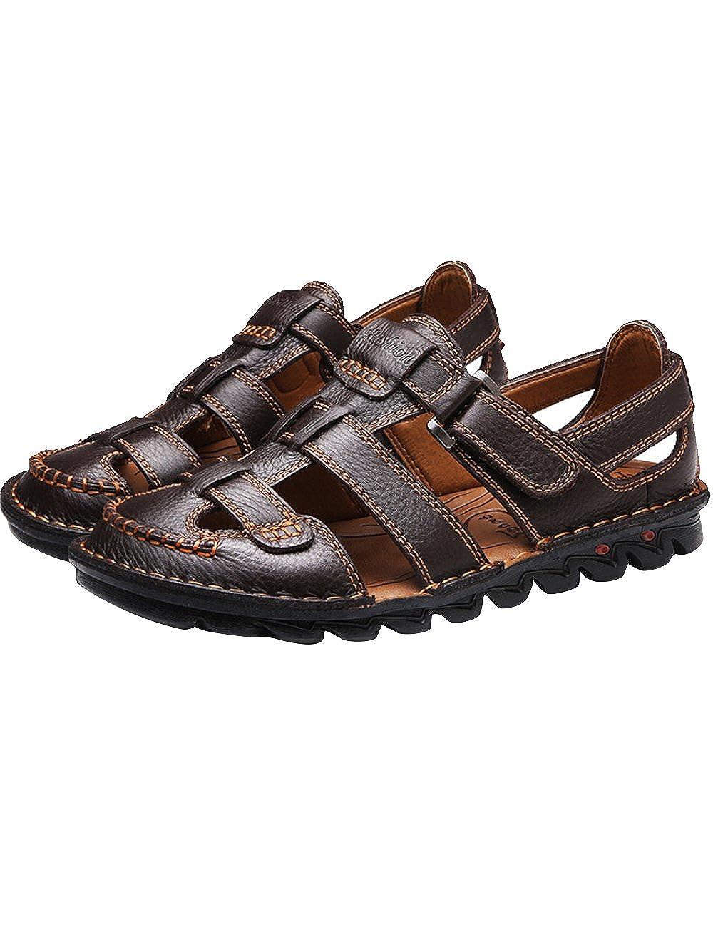 Herrenchwear Herren Leder Sport Sandalen Outdoor Wasserschuhe Schuhe Dunkel-braun-tx1322