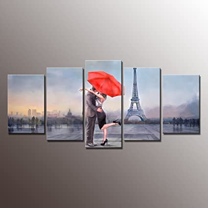 Home Decor Canvas Wall Art- Gallery Framed Canvas Print Picture Love In  Paris Modern Landscape Painting Print Wall Decor Art for Home Decoration