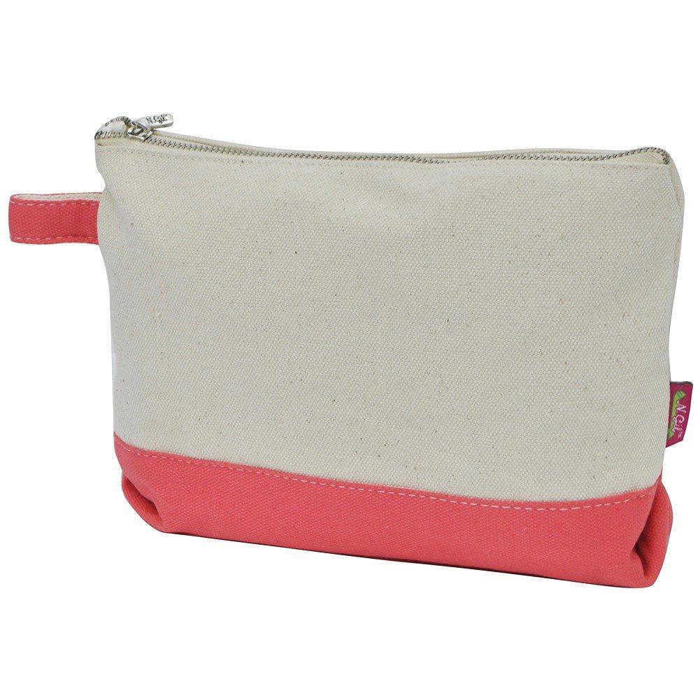 d482ae66073 Amazon.com : Jute/Canvas NGIL Large Cosmetic Bag Pouch AQUA : Beauty