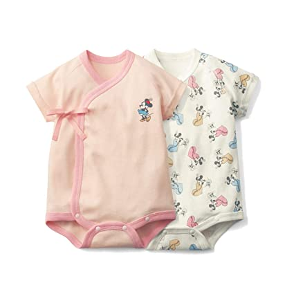 3483a7fdbe80f  ベルメゾン  ディズニー 新生児 半袖 前開き ボディスーツ 2枚 セット ミニーマウス サイズ