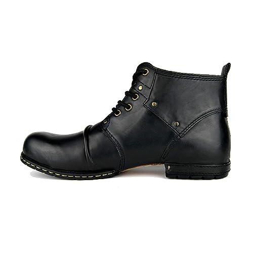 Suetar Botines Retro de Cuero Genuino para los Hombres Botas de Trabajo Resistentes a la Moda con Cordones Calzado Casual de Hombre con tacón Occidental: ...