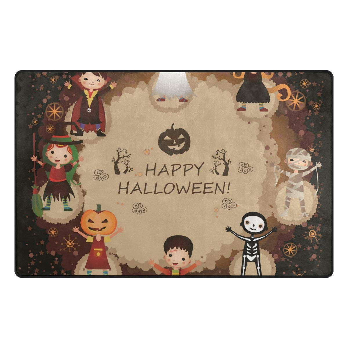 HEOEH Skeleton Pumpkin Witch Dance Doormats Area Rug Rugs Non-Slip Floor Mat Indoor Outdoor 60x39 inch