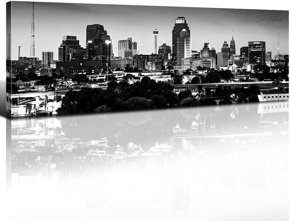 USA Skyline Wall Art San Antonio Canvas Prints Decor Panoramic Cityscape Black and White Urban Landscape HD Picture Modern Artwork Barthroom Study Decoration Stretched and Framed 14x 48 Inch x 1 Pcs