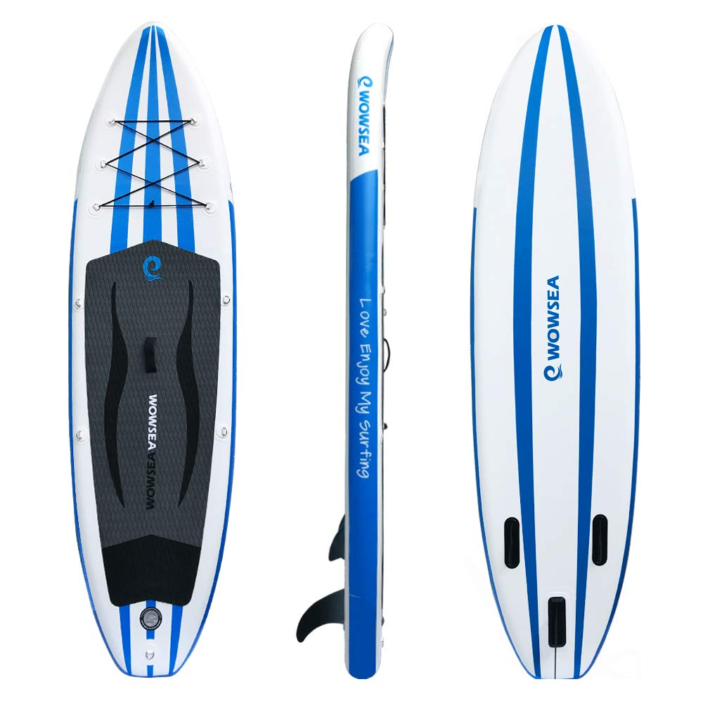 WOWSEA iSUP Inflatable Stand Up Paddle Board Package Includes Adjustable Paddle Travel Backpack Coil Leash
